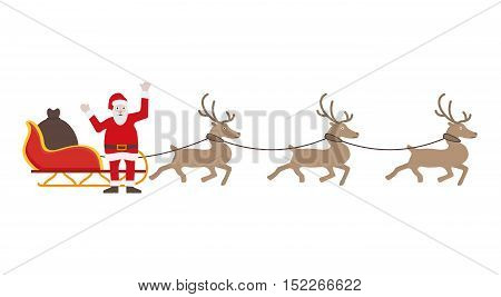 Santa Claus In Red Dress With Sleigh And Reindeers