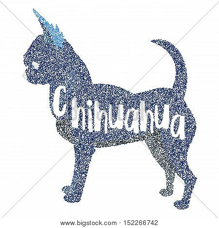 Form of round particles chihuahua dog breed. Hound with tail, mammal puppy, vector illustration