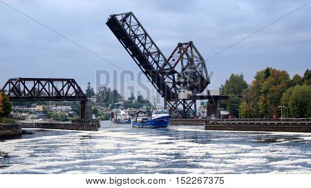 SEATTLE, WASHINGTON STATE, USA - OCTOBER 10, 2014: Hiram M. Chittenden Locks and Rail Drawbridge - Salmon Bay Bridge