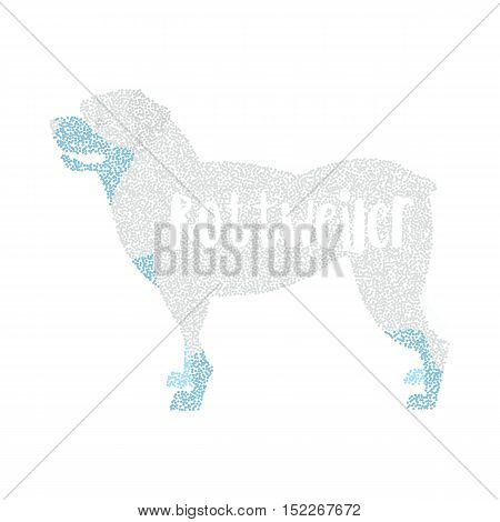 Form of round particles dog breed rottweiler. Pedigreed hound and doggy pet, vector illustration