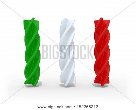 fusilli pasta with the colors of the italian flag isolated on white backgroung 3d illustration