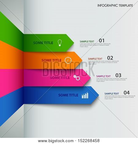 Info graphic with colorful striped indicators template vector eps 10