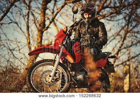 Motorcycle Rider Stay At Sunset With Him Enduro Bike