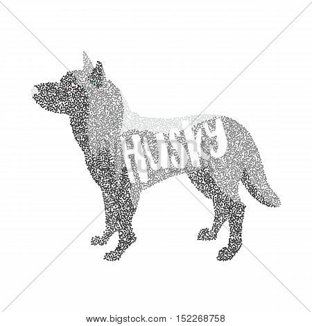 Form of round particles siberian husky dog breed. Doggy mammal, vector illustration