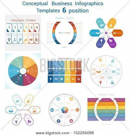 Set templates Infographics business conceptual cyclic processes for six positions text area possible to use for pie chart diagram. Eps file is layered and fully organised objects are grouped