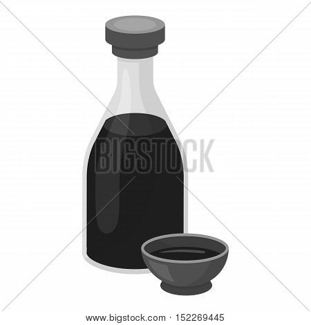 Soy sauce icon in monochrome style isolated on white background. Sushi symbol vector illustration.