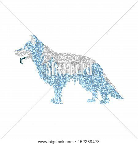 Form of round particles german shepherd dog. Breed hound and mammal. Vector illustration