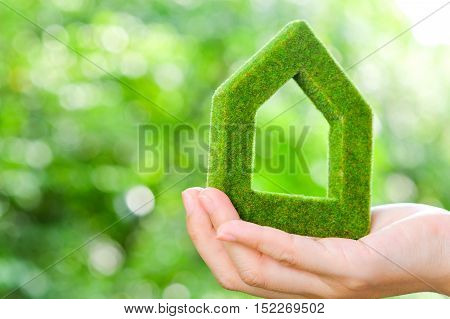 hand holding green house icon, eco friendly concept