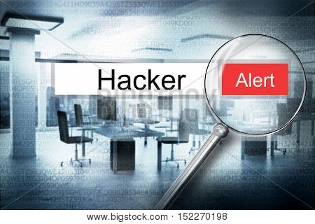 reading the word hacker browser search security alert 3D Illustration