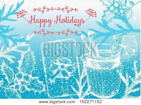 Christmas hand drawn for xmas design. Vintage Xmas invitation design. Linear graphic. New year vector illustration.