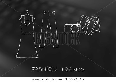 Fashion Blogging: Dress And Jeans Illustration With Camera