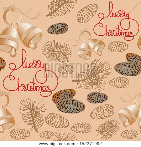 Vector Xmas seamless pattern. Include bell, pine cone, pine branch and handwritten words Merry Christmas.