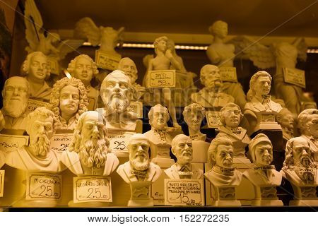 Venice Italy - May 05 2016: The statuettes in the window of a souvenir shop