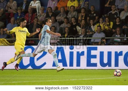 VILLARREAL, SPAIN - OCTOBER 16th: (L) Costa and Orellana during La Liga soccer match between Villarreal CF and R.C. Celta de Vigo at El Madrigal Stadium on October 16, 2016 in Villarreal, Spain