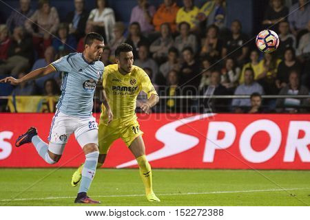 VILLARREAL, SPAIN - OCTOBER 16th: (L) Cabral and Sansone during La Liga soccer match between Villarreal CF and R.C. Celta de Vigo at El Madrigal Stadium on October 16, 2016 in Villarreal, Spain