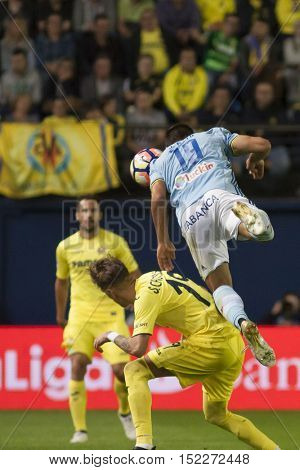 VILLARREAL, SPAIN - OCTOBER 16th: 19 Jonny with ball during La Liga soccer match between Villarreal CF and R.C. Celta de Vigo at El Madrigal Stadium on October 16, 2016 in Villarreal, Spain