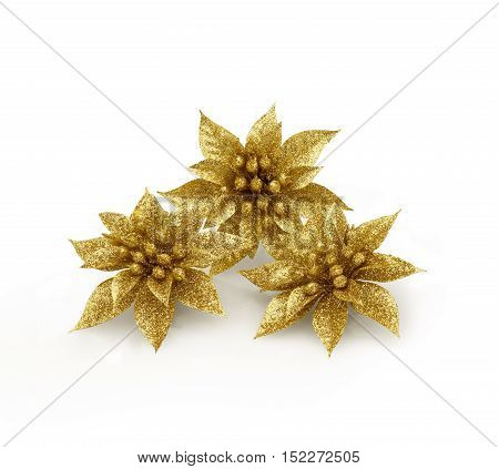 Three Christmas fantasy flowers with spangles against white background and soft shadow. Clipping path on flowers