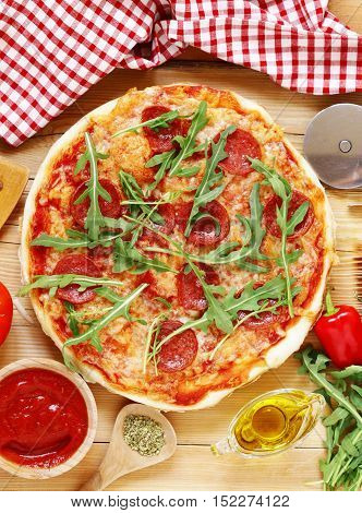 traditional Italian pepperoni pizza with tomato sauce and cheese