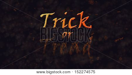 Trick or Treat text dissolving into dust to bottom