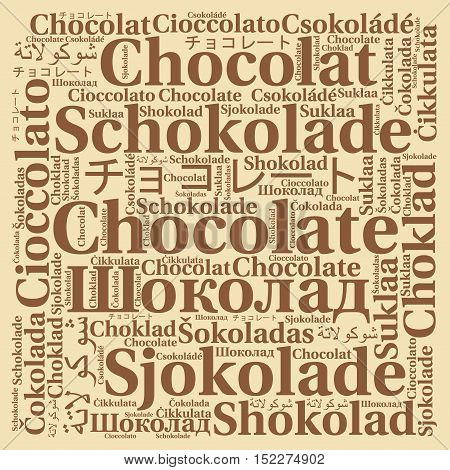 Chocolate in different languages word cloud with a brown background
