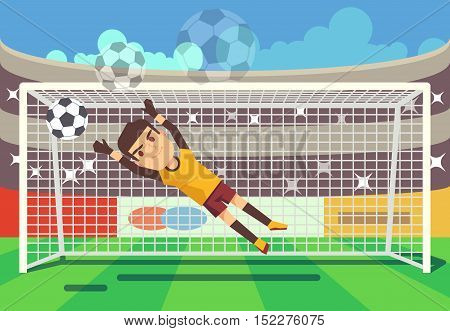 Soccer, football goalkeeper catching ball in goal vector illustration. Sport player on stadium