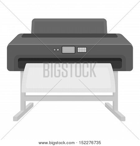 Large format printer icon in monochrome style isolated on white background. Typography symbol vector illustration.