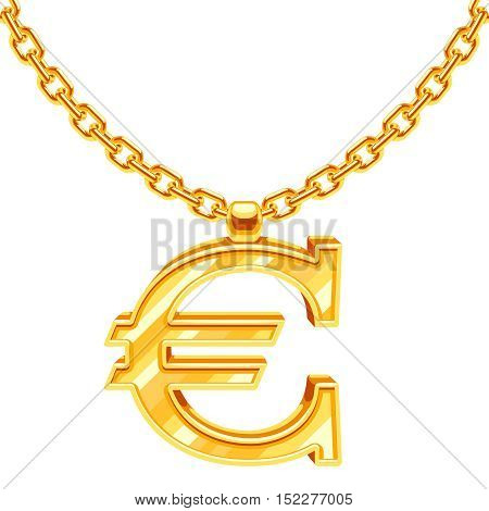 Gold necklace chain with euro symbol vector illustration. Gold finance value, european currency