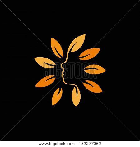Isolated abstract orange color floral logo. Round shape flowers with petals logotype. Floral vector illustration. Woman profile face icon. Female side view sign. Nature elements