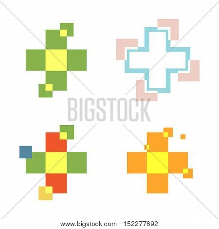 Isolated abstract colorful cross logo set. Medical logotype collection. Hospital, ambulance, clinic icon. Geometric shape mosaic tile. Religious sign. Arithmetic plus symbol. Vector cross illustration