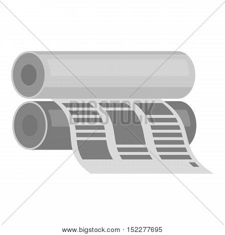 Newspaper printing machine in monochrome style isolated on white background. Typography symbol vector illustration.