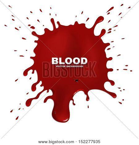Red blood splatter vector grunge background. Stain of paint, artistic spot ink illustration
