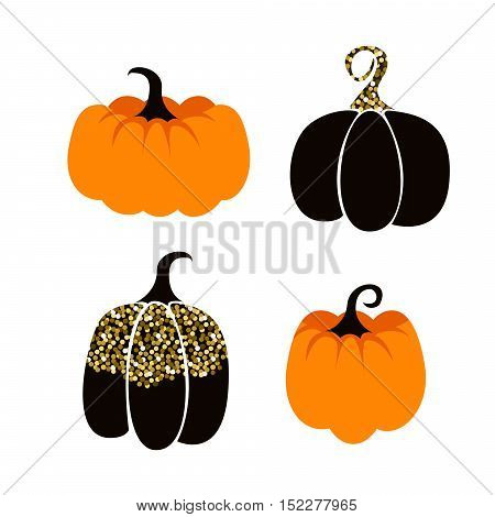 Halloween pumpkin vector icon set. Orange and black with gold glitter october pumpkins isolated on white background.