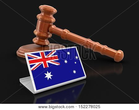 3D Illustration. 3d wooden mallet and Australian flag. Image with clipping path