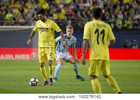 VILLARREAL, SPAIN - OCTOBER 16th: 20 Soriano during La Liga soccer match between Villarreal CF and R.C. Celta de Vigo at El Madrigal Stadium on October 16, 2016 in Villarreal, Spain