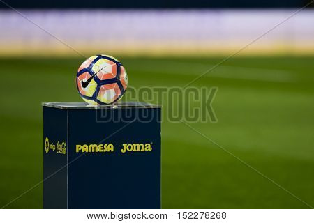 VILLARREAL, SPAIN - OCTOBER 16th: Official ball during La Liga soccer match between Villarreal CF and R.C. Celta de Vigo at El Madrigal Stadium on October 16, 2016 in Villarreal, Spain