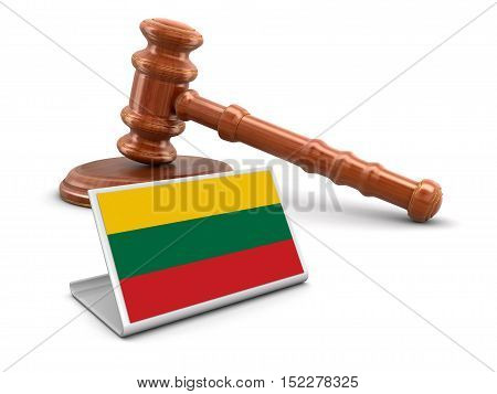 3D Illustration. 3d wooden mallet and Lithuanian flag. Image with clipping path