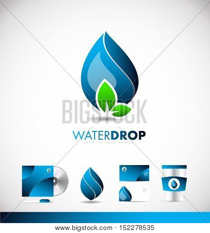 Water drop blue green leaf energy clean environment vector logo icon sign design template corporate identity