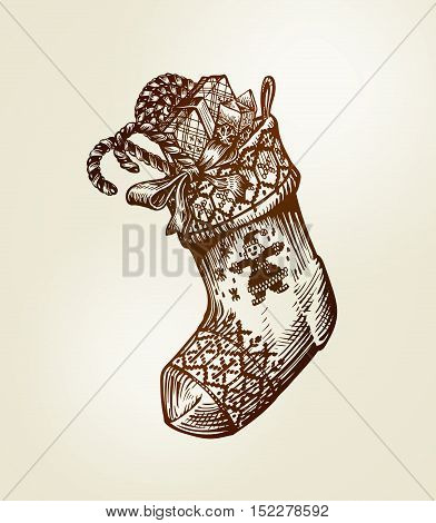 Christmas sock with gifts. vector illustration vintage sketch