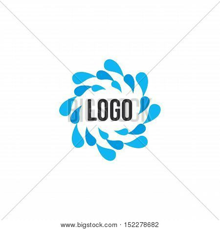 Isolated abstract blue water drops circle logo. Liquid circulation logotype. Fresh drink splash icon. Round shape spining paint sign. Natural process of renewal symbol. Vector drops illustration