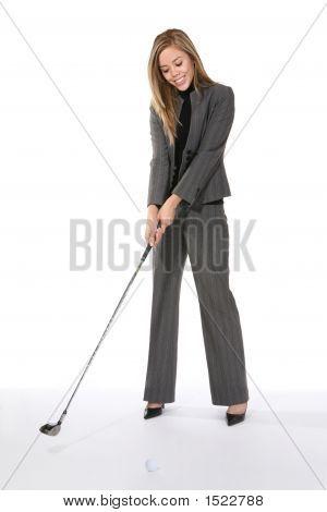 Geschäftsfrau, Golfen