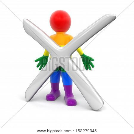 3D Illustration. Color Man and cross. Image with clipping path