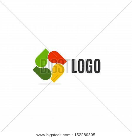 Isolated abstract colorful leaves logo on white background. Autumn logotype. Tree element. Unusual cross icon. Decorative sign. Vector illustration
