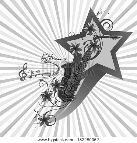 vector illustration saxophone image on a t-shirt background