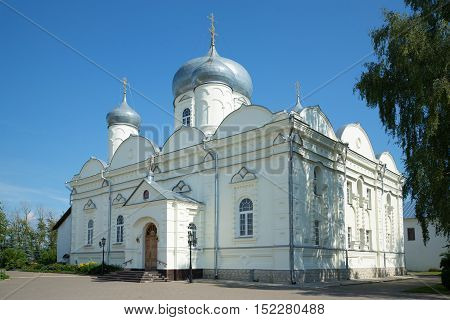 The old St. Basil's Cathedral Zverin Monastery in Veliky Novgorod, sunny july day. Russia