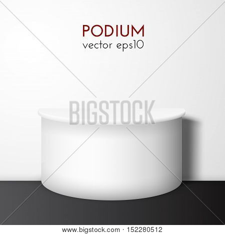 White realistic pedestal with black floor vector background. Vector eps10. Can be used for product presentation.