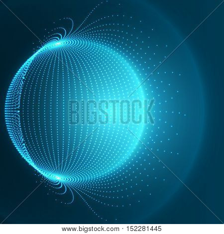 Blue Sphere Background - Abstract Globe Grid - Futuristic Vector Design