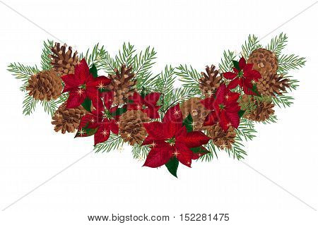 Vintage Christmas garland with pine cones and poinsettia isolated on white background. Vector illustration