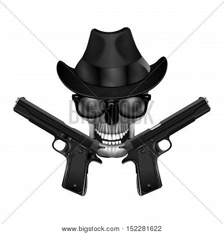 Skull in a hat sunglasses and pistols. Isolated object in black and white can be used with any image or text.