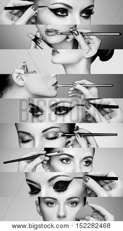 Beauty collage. Faces of women. Fashion photo. Makeup artist applies lipstick and eye shadow. Woman applying perfume. Black and White