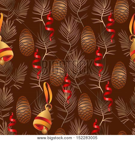 Vector xmas seamless pattern. Include bell, pine cone, pine branch and ribbon on brown background.
